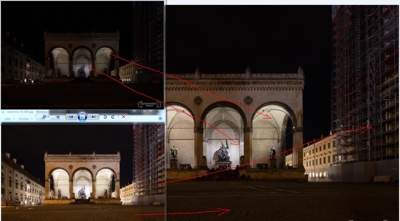 München Odeonsplatz korrekte Belichtung hat Schwächen in hellen und dunklen Bereichen, die durch andere Bilder ergänzt werden müssen
